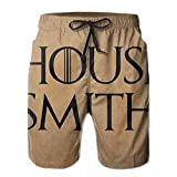 Men's 100% Polyester House Personalized Game of Thrones Entrance Swim Trunks, Fashion Swimsuit with Pockets White