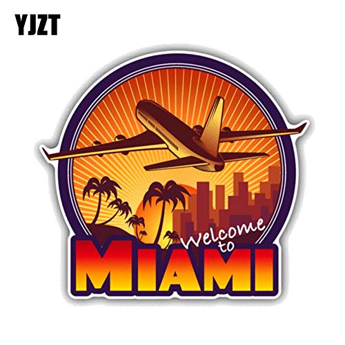 JYIP 12.7CM*11.5CM Welcome To Miami Travel PVC Motorcycle Car Sticker 11-00432