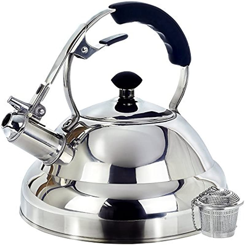 Surgical Stainless Steel Whistling Tea Kettle 2 75 Quart Stove Top Kettle Teapot With Layered Capsule Bottom Silicone Handle Mirror Finish Tea Infuser Strainer Included By Willow Everett