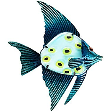 Patio Eden - Metal and Glass Fish Wall Art - 12.5  - Perfect Patio Decoration - Indoor Or Outdoor Hanging Beach Decor - Easy To Hang