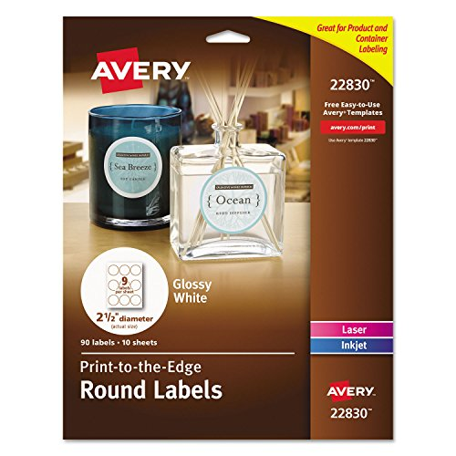 Avery 22830 Round Labels, 2-1/2-Inch, 90/PK, White