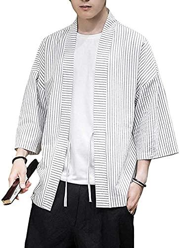 Chaqueta de Kimono a Rayas de Lino para Hombre, Ajuste Regular, Prendas de Vestir de Yukata Japonesa, Tops, Abrigo Retro Informal,White-Large