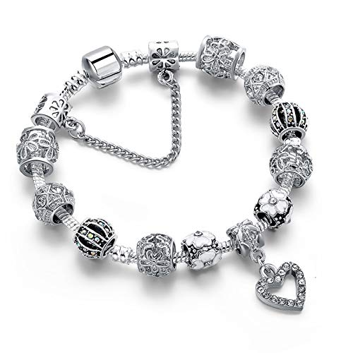 PLMOKN Einzigartige Silber Herz Schneeflocke Armbänder Armreifen Für Frauen Schmuck Kristall Armband Charms Blume Armband 18 cm SBR190317SR