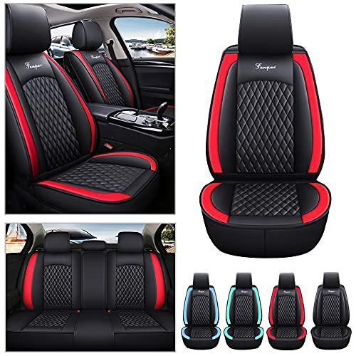 Fundas universales para asientos de coche para Audi A1 Sportback 2010-2015 todo tipo de clima, de piel sintética, resistentes al desgaste, impermeables, 5 asientos, color negro con rojo