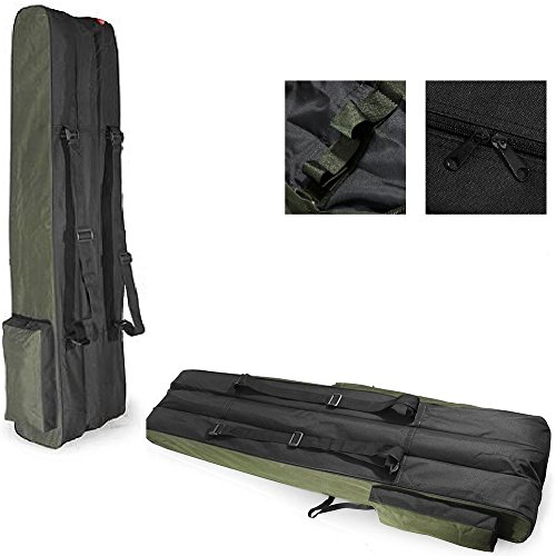 Dragon 3 POCKETS 190cm long FISHING ROD HOLDALL BAG LUGGAGE CASE for rods & reels GREEN