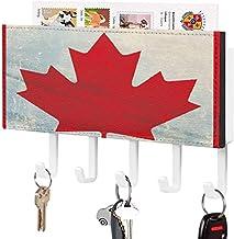 Clé murale - Crochet de clé mural, Porte-clé de courrier, Organisateur de clé de courrier, Motif de drapeau Feuilles d'éra...