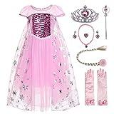 JerrisApparel Niña Disfraz de Princesa Vestito Lentejuela Partido Tul Abito (6 años, Rosa - Mangas Cortas con Accesorios)