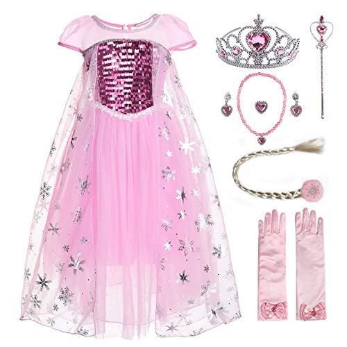 JerrisApparel Niña Disfraz de Princesa Vestito Lentejuela P