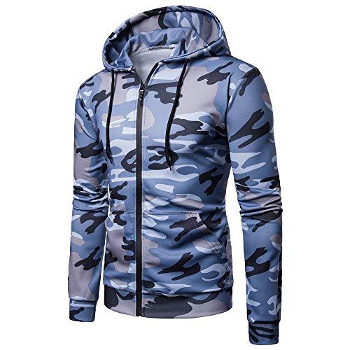 Mens 3D Printed Camo Hoodies Comfy Zip Up Hoody Casual Smart Winter Jacket Coats Breathable Hooded Sweatshirt Outwear Blue 3XL