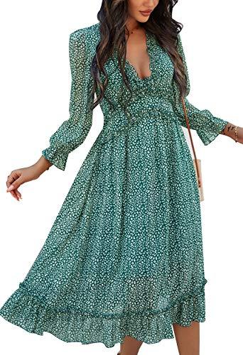 ZIYYOOHY Damen Kleid Chiffon mit V-Ausschnitt Cocktailkleid Partykleid Blusenkleid Sommerkleid (M, 3016 Grün)