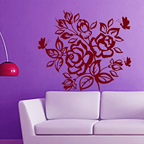 Rose Butterfly Flowering Blossom Wandtattoos Aufkleber Selbstklebende Vinyl Art Wandtattoos Wohnkultur für Schlafzimmer 57Cm X 82Cm
