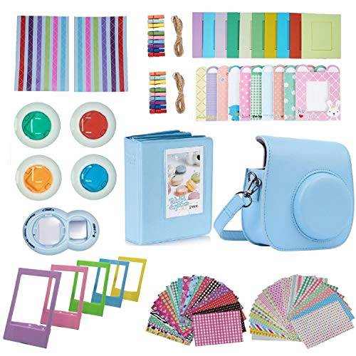 FollowSun 10 in 1 Fujifilm Instax Mini 8 8S 9 Camera Accessori Set Inclusi Blu Caso/Album/Selfie Lente/Lenti Colorate Filtri/Cornici/Foto Cornice/Adesivi per i Bordi/Gli Angoli