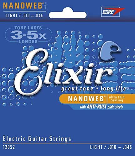 Cuerdas para guitarra eléctrica Elixir Strings con recubrimiento NANOWEB, calibre ligero (.010-.046)