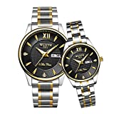 GDHJ Reloj de Hombre,Pareja de Relojes de Cuarzo de Acero Inoxidable para Hombres y Mujeres, Regalo, Calendario Doble, Marca de Tiempo Doble, un par de Relojes impermeabl Steel Watch Band 1