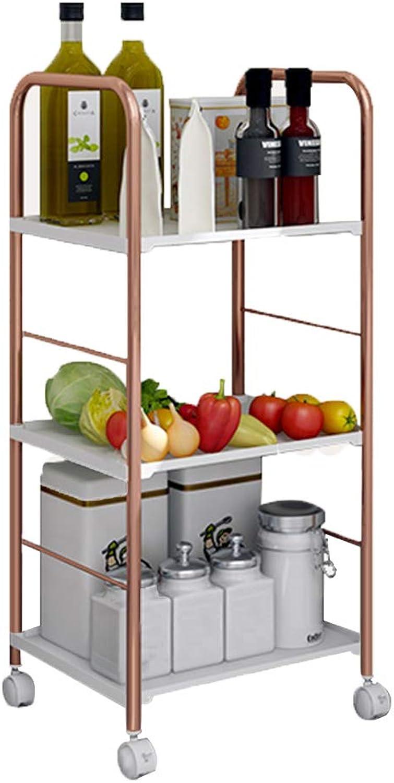 Mobile Storage Trolley Multi-Layer Kitchen Storage Rack Metal Multi-Function Study Living Room Bathroom Shelf