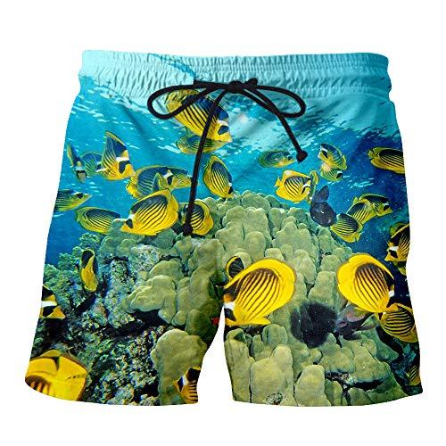 Blwz Männer Shorts Strandhose 3D Gelb Fisch Gedruckt Sommer Boardshorts Quick Dry Sport Badehose Surfen Freizeithose, XXXL