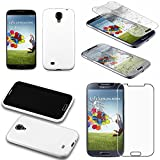 ebestStar - Funda Compatible con Samsung S4 Galaxy i9500 i9505 Carcasa Transparente Silicona Gel Estuche Flexible, Blanco + Cristal Templado Protector Pantalla [Aparato: 136.6 x 69.8 x 7.9mm, 5.0'']