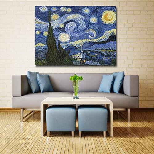 Geiqianjiumai sterrenhelder kunstzeildoek-wanddecoratie-sprayschilderij HD abstracte moderne uitgangssingle Van Gogh