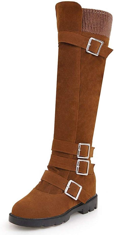 HOESCZS Marke Plus größe 34-43 Beste qualität Schnallen Winter Reitstiefel Reitstiefel Reitstiefel Weibliche Schuhe Frau Zip Up Kniehohe Stiefel Frau Schuhe,  878096