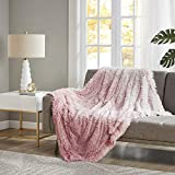 CosmoLiving by Cosmopolitan Cleo Throw Blanket-Faux Fur Shaggy to Mink Reverse Deluxe Ombre Fuzzy Design Spread, Ultra Soft, Cozy Living Room Couch, Sofa, Bed, 50' x 60', Blush
