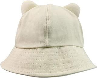 Hats New Women's Cute Cat Ears Fisherman Hat Bucket Hat Sun Hat Foldable Wild Summer Sun Protection Beach Sun Visor Hat Fashion (Color : Off-White, Size : Free Size)