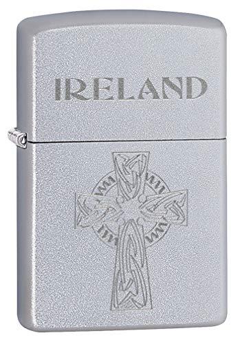 Zippo Lighter: Ireland Celtic Cross, Engraved - Satin Chrome 80731