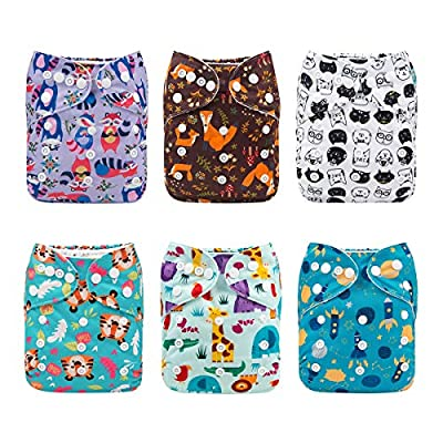 ALVABABY Cloth Diaper, One Size Adjustable Washable Reusable for Baby Girls and Boys 6 Pack with 12 Inserts (Girl Color 6DM40, All in one)