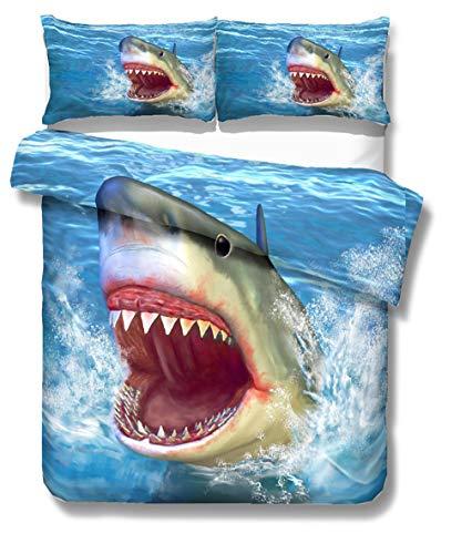 HNHDDZ Ropa de Cama 3D Animal Mundo del Océano Tiburón Tortuga Delfín Impresión Azul Funda nórdica Poliéster Cremallera Niño Chica (Tiburón 1,180x220 cm - Cama 90 cm)