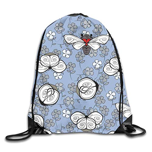 show best Blue Bees and Flowers Drawstring Gym Bag for Women and Men Polyester Gym Sack String Backpack for Sport Workout, School, Travel, Books 14.17 X 16.9 inch