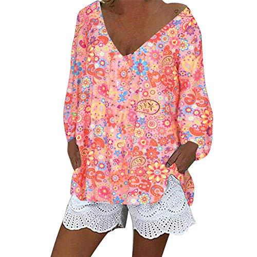 YEBIRAL Damen Übergröße Sommer StrandTunika V-Ausschnitt Langarm Lose Casual Boho Blumendruck Langarmshirt Blusen T Shirt Tops(3XL,Rosa)