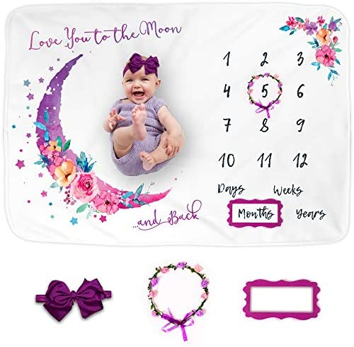 Luka Lily Baby Monthly Milestone Blanket Girl Memory Blanket for Newborn Baby Shower Month and product image