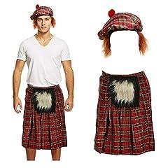 Lizzy Mens SCOTTISH COSTUME Scotsman KILT + TARTAN HAT Hair Burns Night Fancy Dress UK