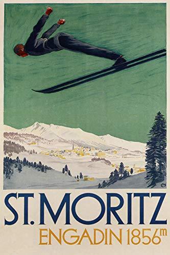 St. Mortiz - Engadin 1856m - Vintage Swiss Travel Poster (14 x 18)