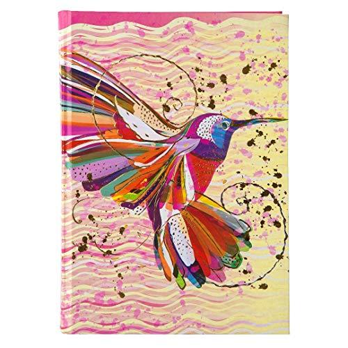 goldbuch 64273 Notizbuch Flower Kolibri, Notizheft im DIN A5 Format, Kladde mit 200 chamoisfarbene Blankoseiten, Kunstdruck mit Goldprägung und Relief, Rosa / Gelb