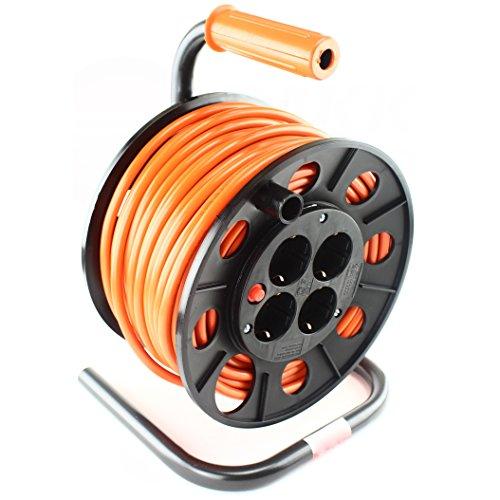 Professionele kabelhaspel kabelhaspel verlengkabel 4x Schuko 3x 1,5 mm2 25 m kabelhaspel.