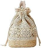 Bolsos de playa de paja de ganchillo con cordón de verano, mochila de punto hecha a mano con flores ahuecadas para mujer de diseñador-A