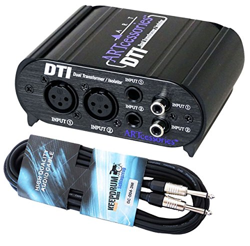 ART DTI passive DI-Box zur Rauschunterdrückung + keepdrum Gitarrenkabel 3m