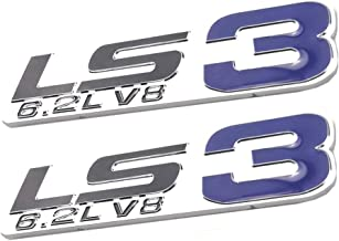 Decalship 2 Pack Chrome Red LS3 6.2L V8 Engine Emblems 3D Badge Stickers Replacement for Gm Chevy Chevrolet Silverado Blue