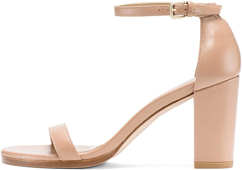 QIDI Sandaler Sandaler Sandaler Sommar Kvinna PU Simple Wild High klackar Romerska skor (färg  Aprikot, Storlek  EU36  UK3.5)  hälsosam