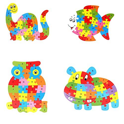 Brief houten puzzel 4 stks ABC dier puzzel kleuterschool leren educatief speelgoed (dinosaurus, vis, uil, nijlpaard)