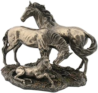 8.5 Inch Baby, Mother, and Father Horse Family Cold Cast Bronze Statue