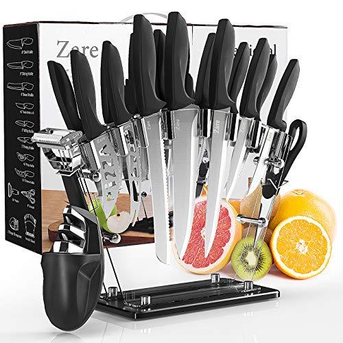 17 Pieces Kitchen Knives Set,Stainless Steel, Steak Knife, Slicing Knife, Knife Sharpener, Scissors, etc. …