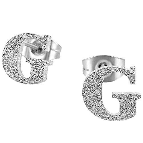 JewelryWe Schmuck Damen Ohrringe, Edelstahl, Namen Alphabet Buchstabe G Charms Ohrstecker, Silber