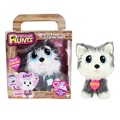 Rescue Runts Husky Plush Dog, White/Gray