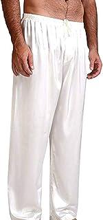 Frobukio Men's Satin Sleep Bottoms Solid Color Lounge Sleep Underwear Nightwear Long Pajama Trousers