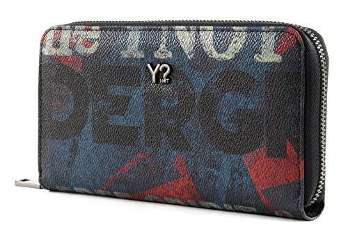 YNOT UND-361F0 Wallet Zip Around, Scritte Grunge, Portafogli Donna, Blue, 19x3x11 (W x H x L)