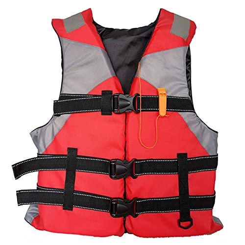 Chaleco Salvavidas Adulto, Chaleco de Natación, Chaleco Flotador, Chaleco de Flotación Inflable Portátil, Chaleco Reflectante con Silbato de Emergencia para Nadar,Pesca,Kayak,Navegación (Rojo)