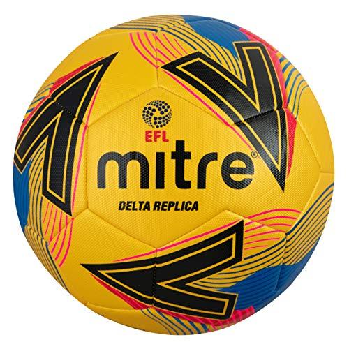 Mitre Unisex's Delta Replica Football, Yellow/Black/Blue, 5