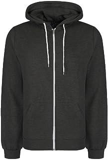 Soul Star Mens Adults Berkeley Full Zip Through Hooded Sweatshirt Tops Dark Grey