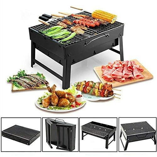 Barbecue Draagbare Barbecue BBQ Grill RVS Opklapbare Barbecue Houtskoolgrill Buiten met BBQ Net, BBQ Clip en Olieborstel voor Camping Festival Garden Picnic Party Klein Zwart 3-5 mensen